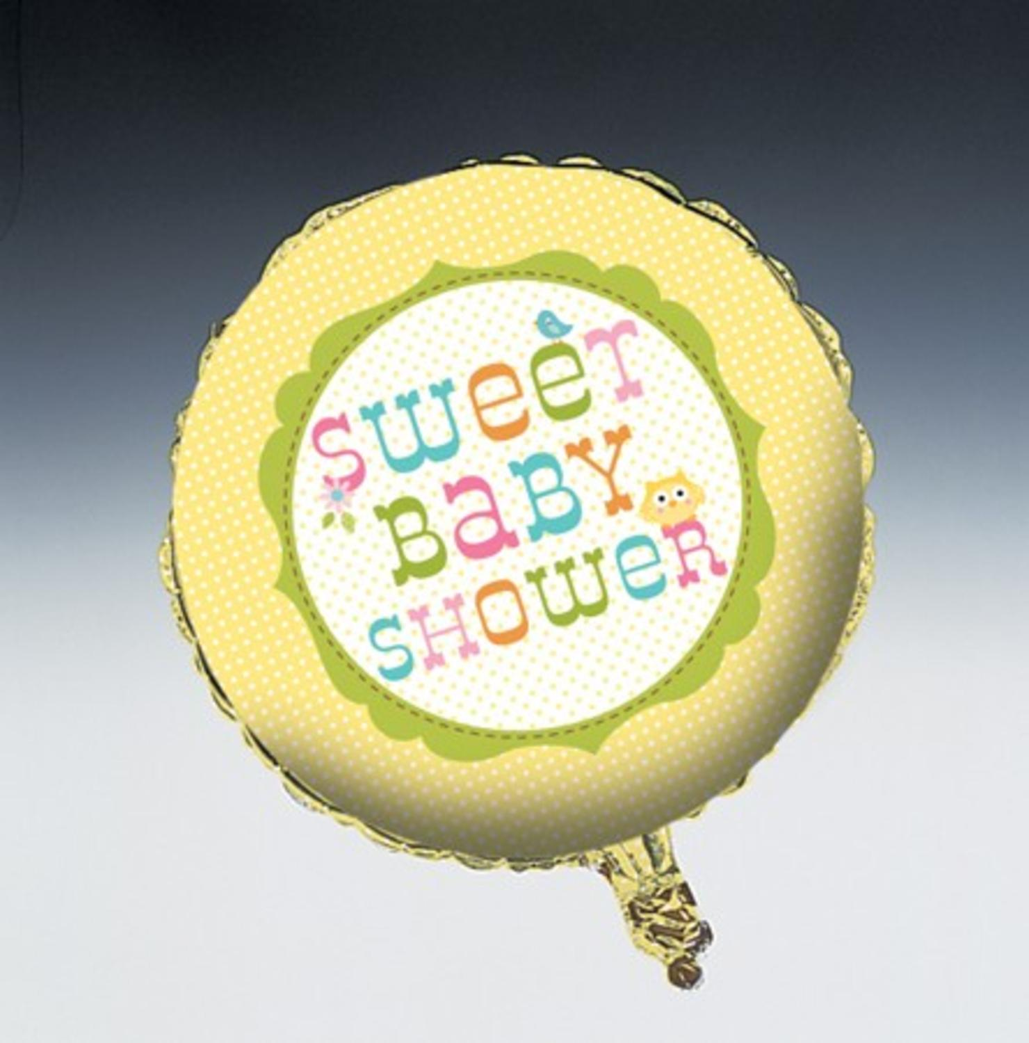 "Club Pack of 12 Happi Tree ""Sweet Baby Shower"" Metallic Foil Party Balloons 18"""