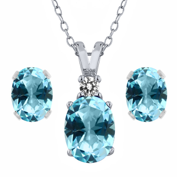3.57 Ct Ice Blue 925 Sterling Silver Pendant Earrings Set Natural Topaz Cut by Swarovski by