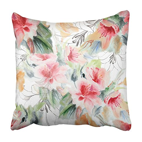 CMFUN Red Color Chinese Rose and Lily Watercolor Black Water Flower Floral Painting Pillowcase Cushion Cover 16x16 inch