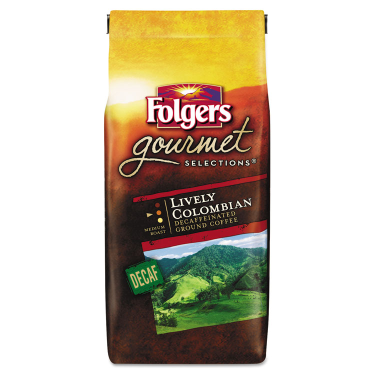 Folgers Gourmet Selections Coffee, Ground, 100% Colombian Decaf, 10oz Bag -FOL20091