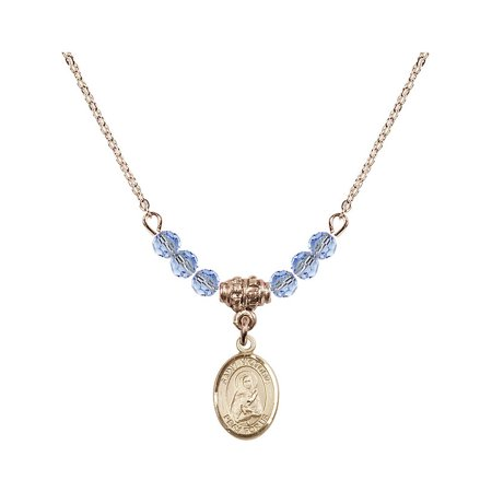 18-Inch Hamilton Gold Plated Necklace with 4mm Light Blue September Birth Month Stone Beads and Saint Victoria Charm ()