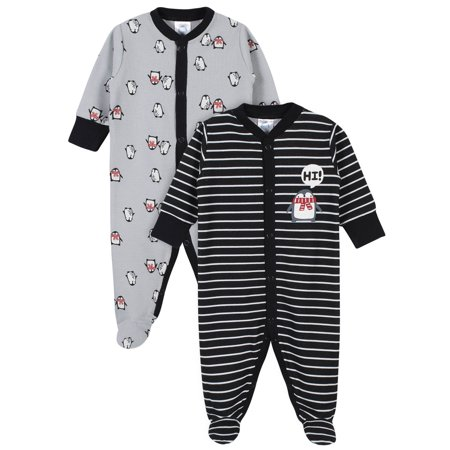 Gerber Baby Boy Thermal Footed Sleep 'N Play Pajamas, 2-Pack