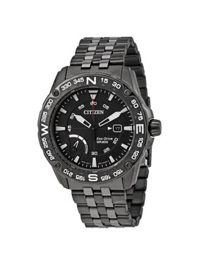 Citizen Men's Eco-Drive Black Stainless Steel Chronograph Watch AW7047-54H