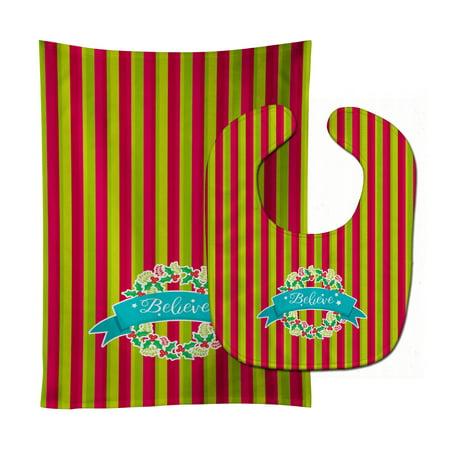 Christmas Wreath Believe Baby Bib & Burp Cloth BB6975STBU