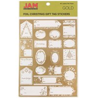 JAM Foil Christmas Gift Tag Stickers, 40/Pack, Matte Gold