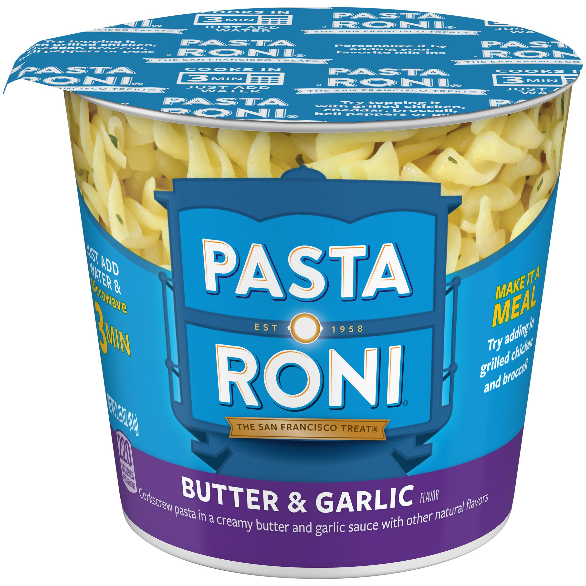 (8 Pack) Pasta Roni Butter & Garlic Corkscrew Pasta, 2.15 oz Cup
