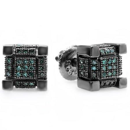 Cube Sterling Silver Earrings - 0.25 Carat (ctw) Black Rhodium Plated Sterling Silver Mens Hip Hop Cube Stud Earrings 1/4 CT