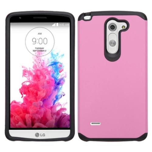 Insten Hard Hybrid Rugged Shockproof Rubber Silicone Cover Case For LG G3 Stylus - Pink/Black