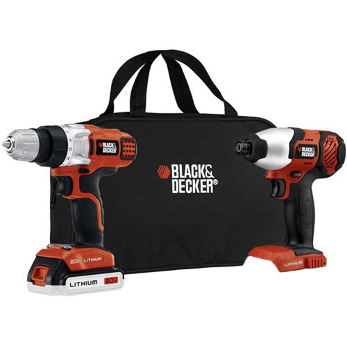 BLACK+DECKER 20-Volt MAX* Lithium-Ion Cordless Drill And Impact Driver With 1 Battery, BDCD220IA-1