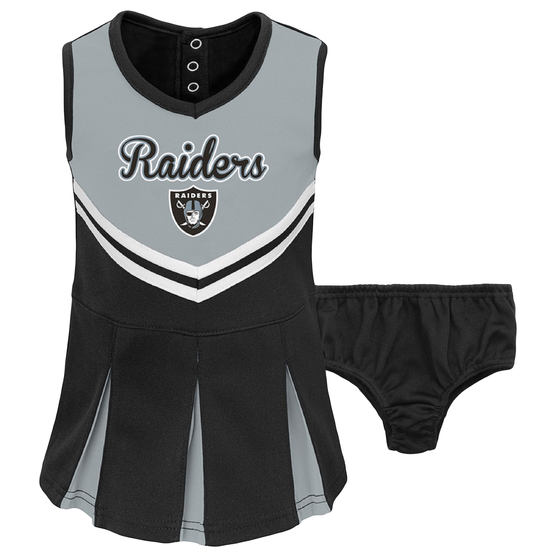 Infant Gray/Black Oakland Raiders Cheerleader Dress & Bloomers Set