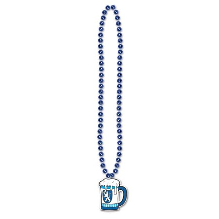 Club Pack of 12 Metallic Blue Beads with German Oktoberfest Beer Stein Medallion Party Necklaces 36