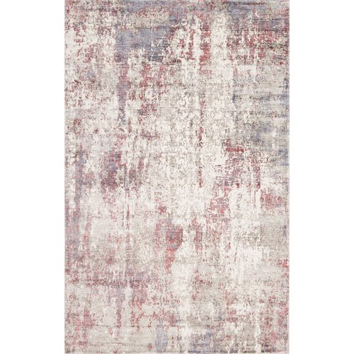 Bungalow Rose Ramage Abstract Raspberry Hand-Woven Gray/Red Area Rug