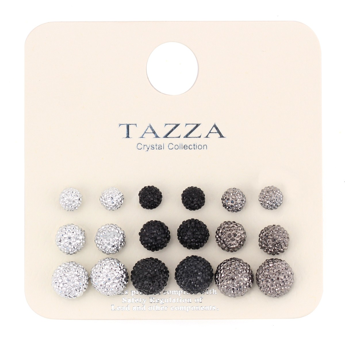 TAZZA WOMEN'S SET OF 9 STUD  EARRINGS