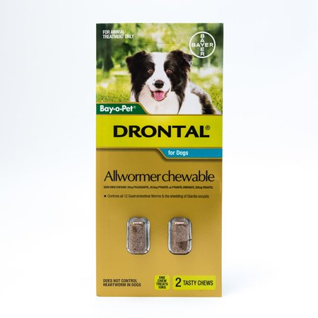 (Drontal Allwormer Chewables for Medium Dogs up to 22lbs(10kg), 2 Chews Pack)