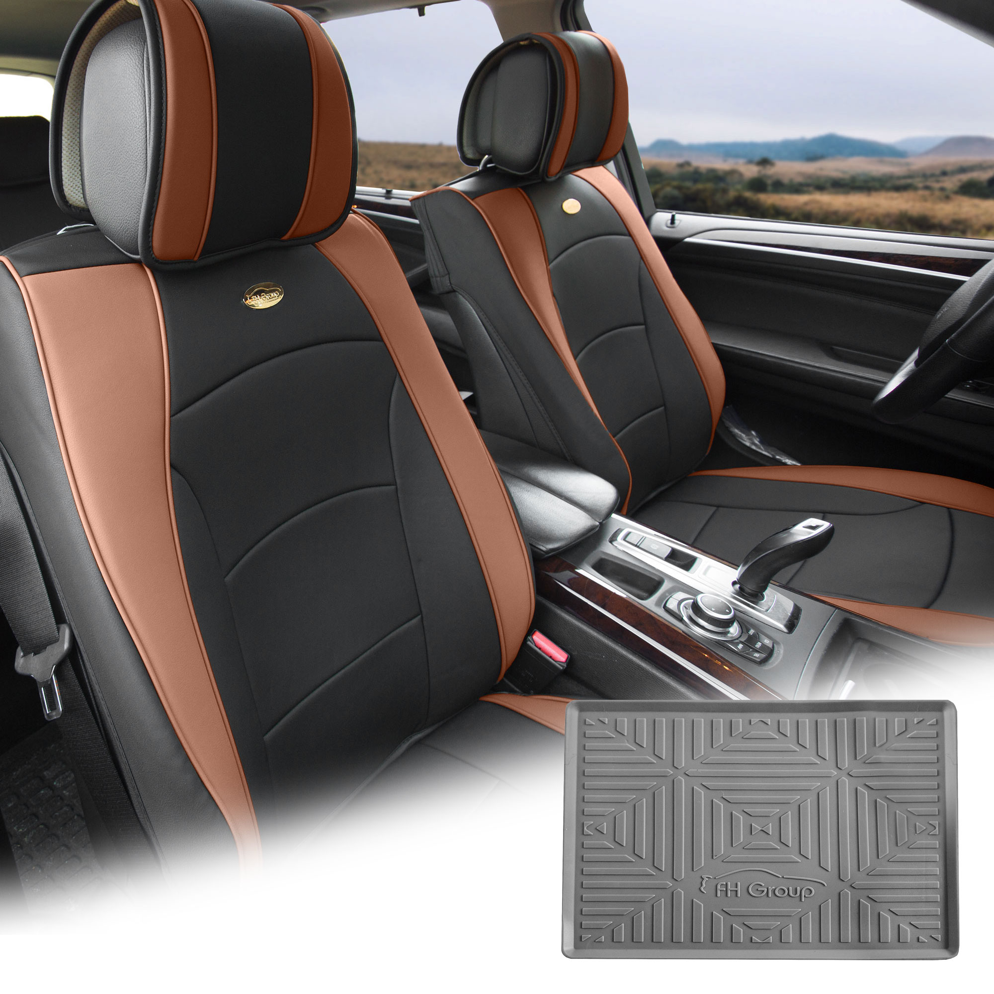 FH Group Brown Black PU Leather Front Bucket Seat Cushion Covers for Auto Car SUV Truck Van with Gray Dash Mat Combo