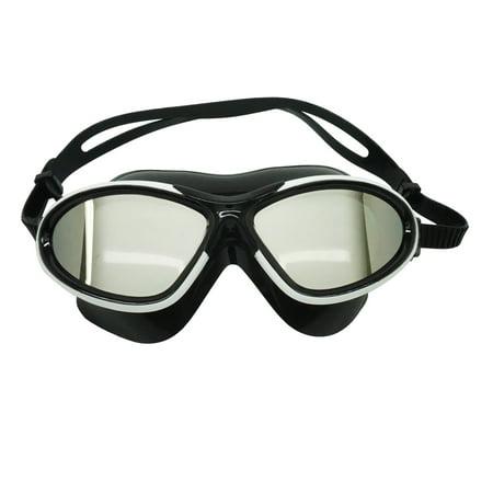 Adult Swim Mask (Palantic Adult Black/White Swim Mask With UV Mirror Anti-Fog Coated Lenses )