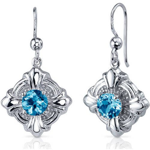 Oravo 2.00 Carat T.G.W. Round-Cut Swiss Blue Topaz Cubic Zirconia Rhodium over Sterling Silver Drop Earrings