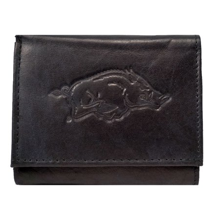 - Arkansas Razorbacks NCAA Embossed Logo Black Leather Trifold Wallet