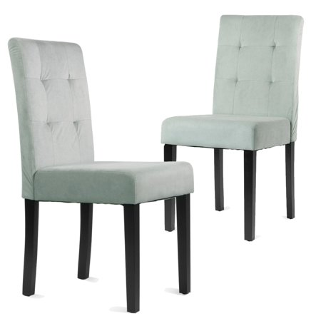 Barton Classic Flannel Elegant Comfort Gray Fabric Parson Home Dining Chair (Set of 2)