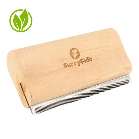 DeShedding Brush by Furryfido Wooden Design, Effective Grooming Tool for Dog, Cat and Horse Fur Remove