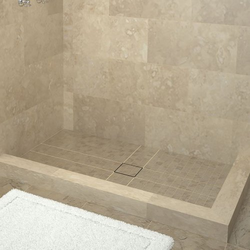Tile Redi Double Threshold Shower Base with Drain Top