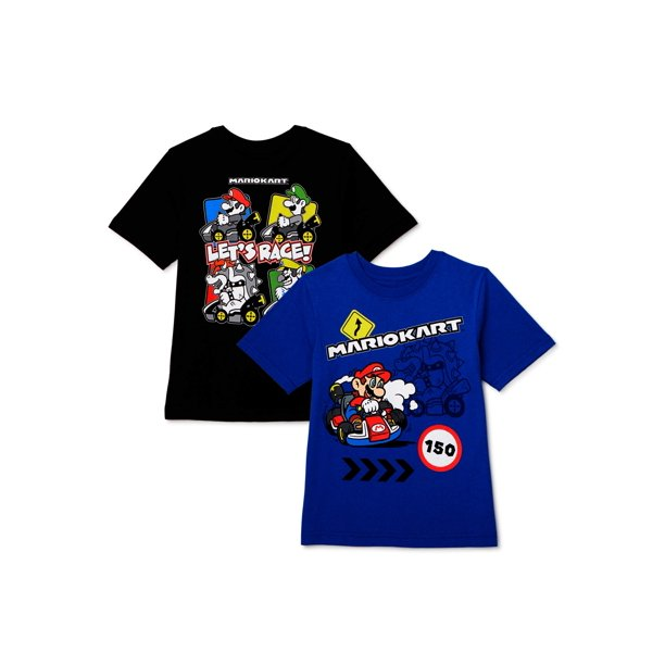 Super Mario Bros. Boys Mario Kart & Friends Graphic Short Sleeve T-Shirts, 2 Pack ,Sizes 4-18