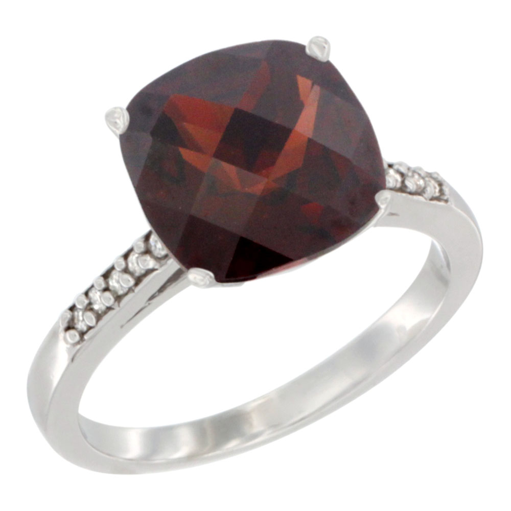14K White Gold Natural Garnet Ring 9 mm Cushion-cut Diamond accent, sizes 5 10 by WorldJewels