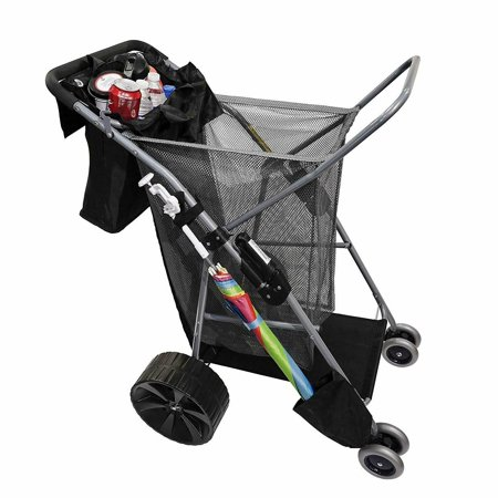 Folding All Terrain Giant Wheel Beach cart Shopping cart w/Beach Umbrella Holder ()