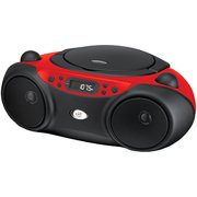 GPX Inc.  Portable Top-Loading CD Boombox with AM/FM Radio and 3.5mm Line In for MP3 Device - Red/Black