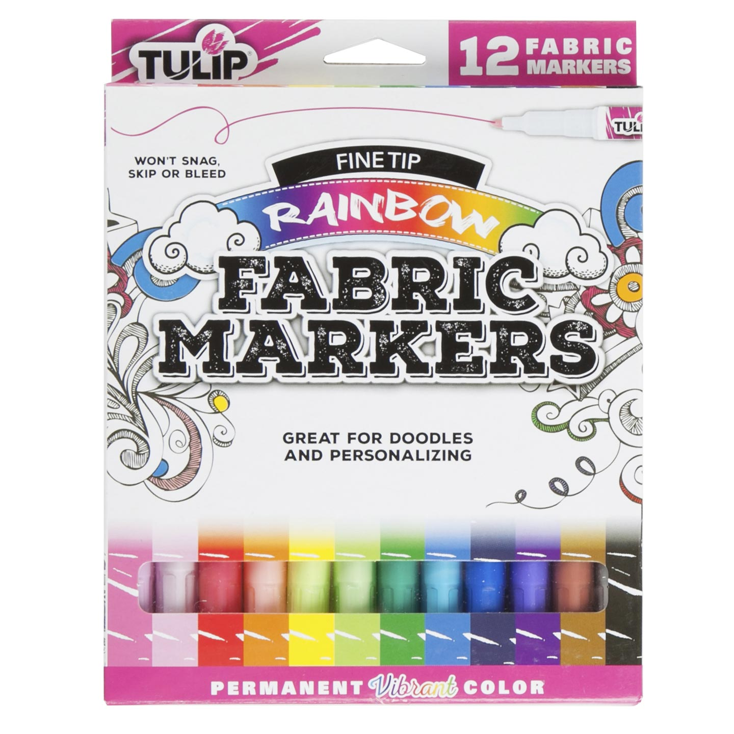 Tulip Fine Tip Fabric Markers: Rainbow, 12 pack