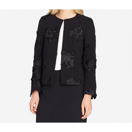 Tahari ASL Womens Embroidered Floral Applique Blazer