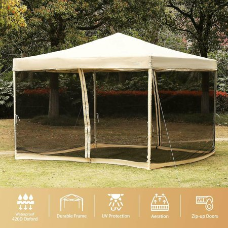 Pop up Canopy with Netting Screen House Instant Gazebo Party Tent 10 x 10 ft -