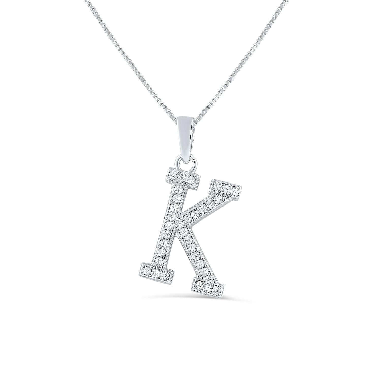 Jewel Tie Sterling Silver CZ Cubic Zirconia Letter K Slide Pendant Charm