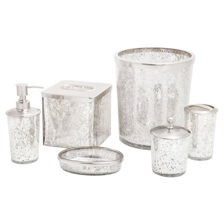 Paradigm trends 6 piece ice bathroom accessories set for Silver crackle glass bathroom accessories