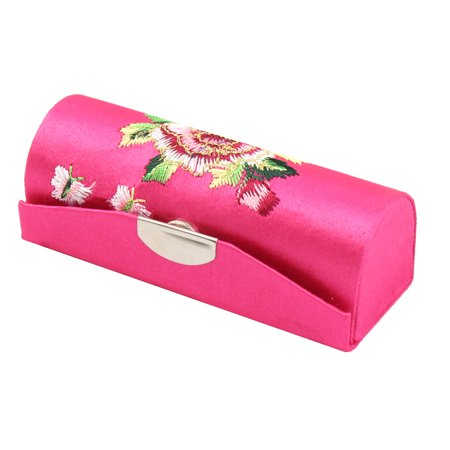 Floral Pattern Mirror Lipstick Lip Balm Chap Stick Case Container Holder Magenta - image 4 of 4
