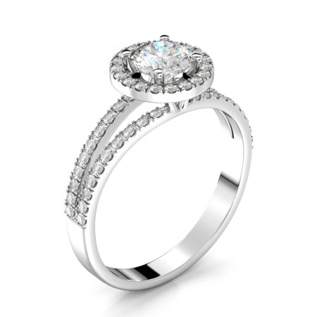 0.8 Carat Weight Halo Round Brilliant Diamond Engagement Ring - 14K White
