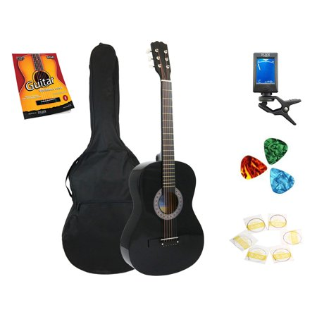 Star Acoustic Guitar 38 Inch with Bag, Tuner, Strings, Picks and Beginner's Guide, Black - Star Guitar