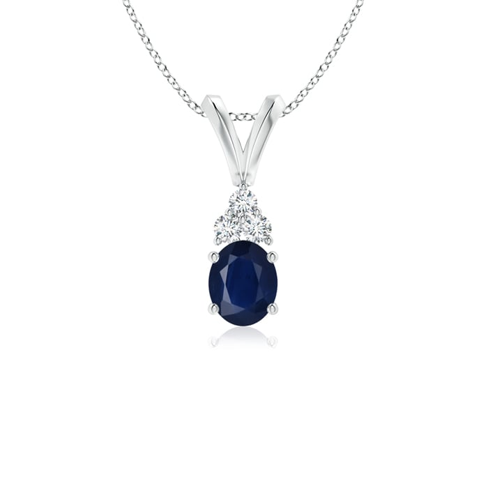 Angara Oval Blue Sapphire Solitaire Pendant with Diamonds SmcDyA