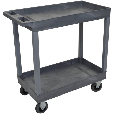 Luxor 2-Tub Shelf Cart with 5″ Casters, Gray