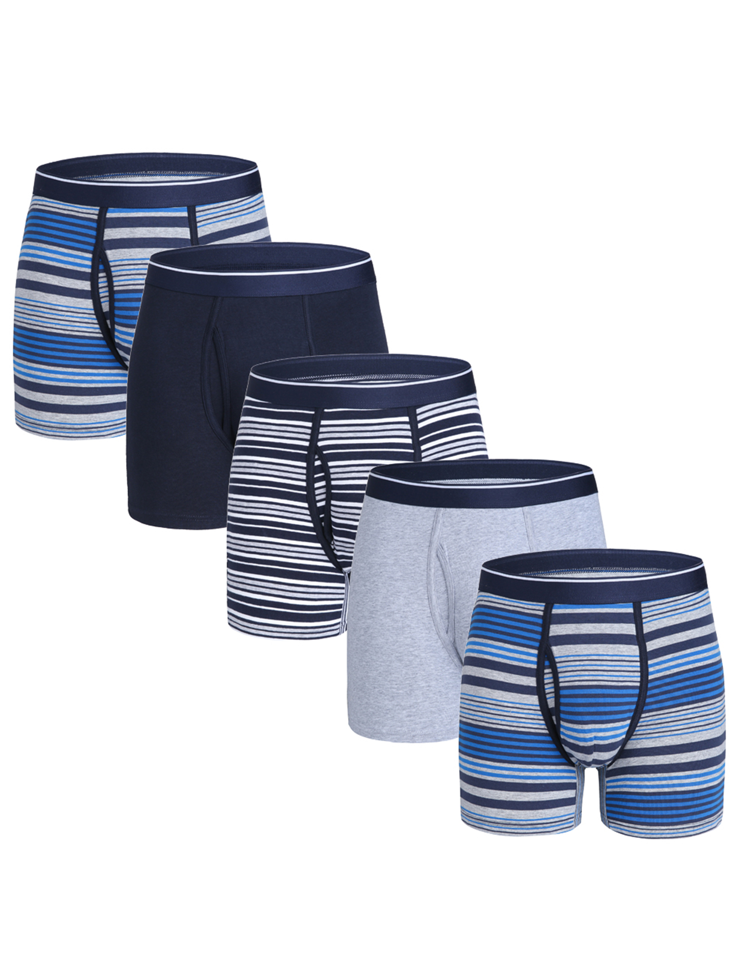 Cotton Underwear Comfy Breathable Tagless No Ride-up 6/'/' Regular Leg Sport Boxer Briefs with Fly Pack Mens Boxer Briefs