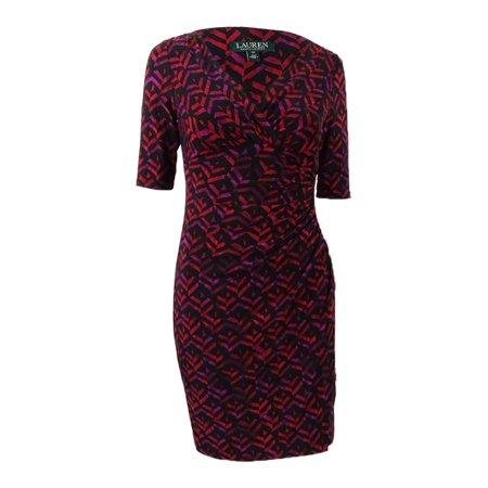 Print Jersey Dress (Lauren by Ralph Lauren Women's Petite Printed Jersey Dress )