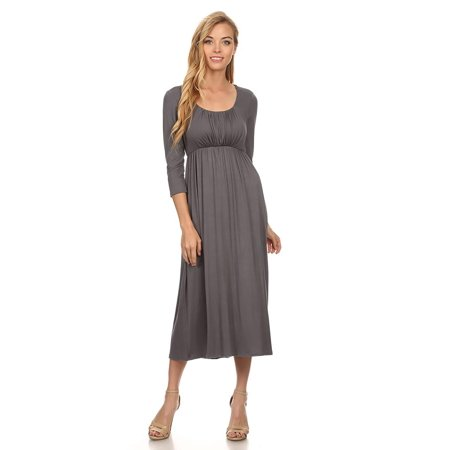 Maxi Scoop - NEW MOA Women's Solid Scoop Neck 3/4 Sleeve Casual Maxi Dress/Made in USA