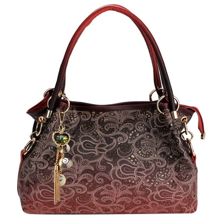 Handbags for Women, Tinksky Faux Leather Purse Ladies Handbag Vintage Designer Handbags Shoulder Bag Hollow Out Design with Fine Pendant Fashion Tote Bag - Beaded Purse Designs