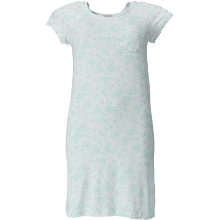 Women's Floral Knit Nightgown Sleep Shirt with Stretch,  Green