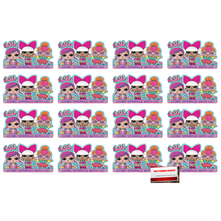 L.O.L. Surprise (16 Pack) Postcard Invitations Birthday Party Supplies Value Pack plus Party Planning Checklist - Nascar Birthday Invitations