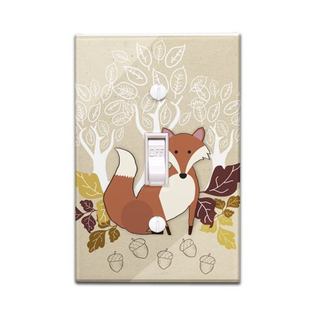 Fall - Fox w/ Leaves - Lantern Press Poster (Light Switchplate Cover)