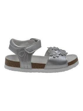 dcf1283e2 Product Image L Amour Girls Silver Flower Accent Strap Cork Sandals 11-4  Kids