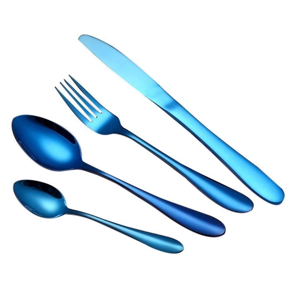 Magik 4Pcs Flatware Rainbow Dinnerware Stainless Steel Tableware Set for Dinner Steak Soup Tea Fork Spoon Knife (Mermaid Rainbow, 4)