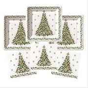 Christmas Holiday Paper Plates And Napkins 16 Guests Elegant Vintage Retro Christmas Tree Theme