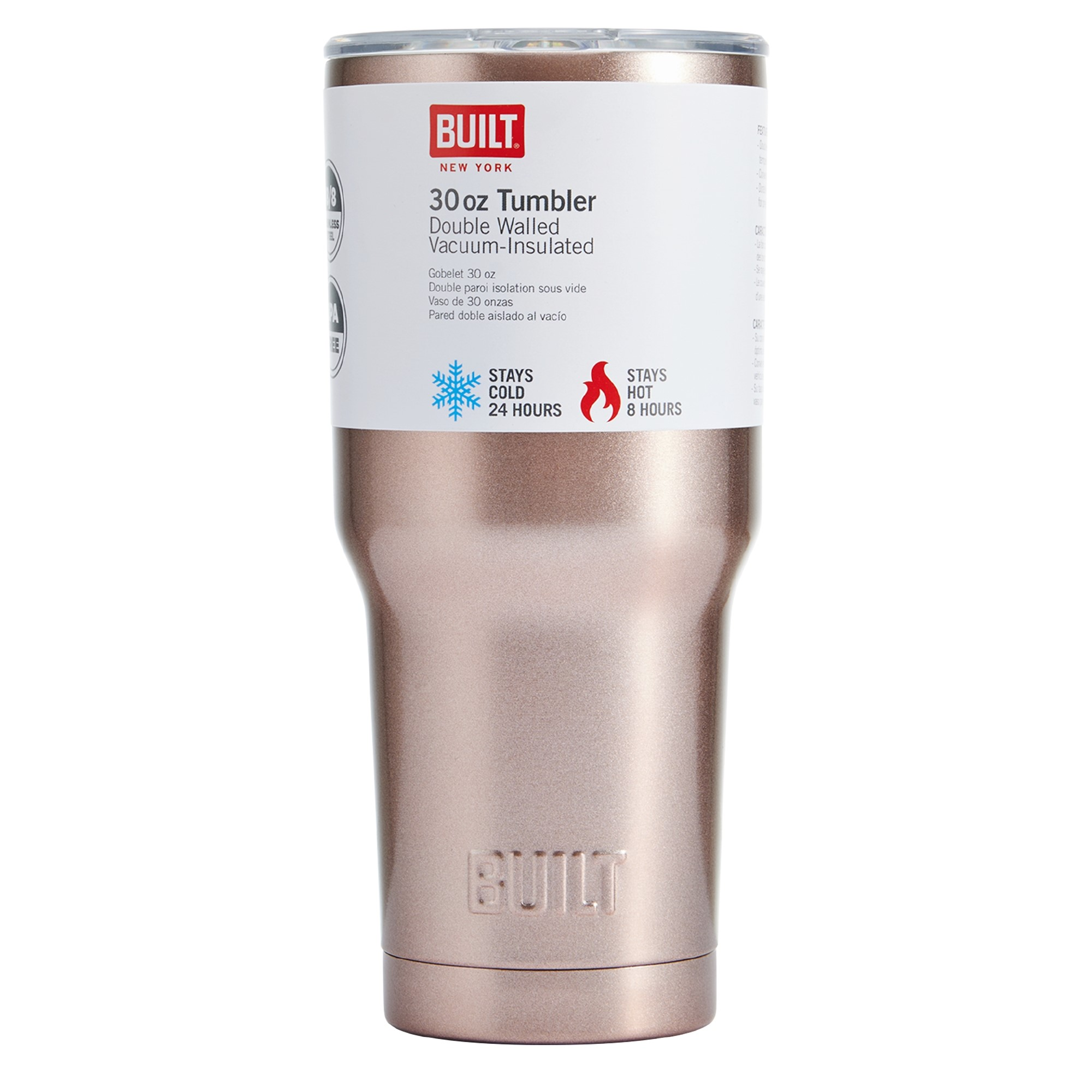 98ffcf23a52 Built 30 Oz Double Wall Stainless Steel Tumbler, Rose Gold - Walmart.com